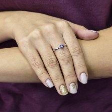 Кольцо из белого золота Мерсина с сапфирами и бриллиантом