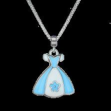Детское колье Платье принцессы с бело-голубой эмалью