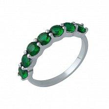 Серебряное кольцо Миллада с дорожкой наноизумрудов