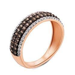 Кольцо в комбинированном цвете золота с коньячными и белыми бриллиантами с родированием 000125530