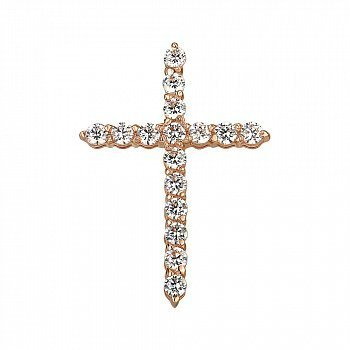 Декоративный крестик из красного золота с фианитами 000141696