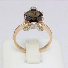 Золотое кольцо с раухтопазом и фианитами Элегия