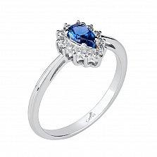 Серебряное кольцо Графиня с синей шпинелью и фианитами