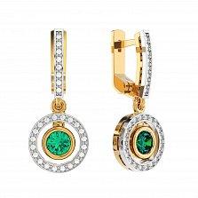 Золотые серьги-подвески Елизавета с изумрудом и бриллиантами