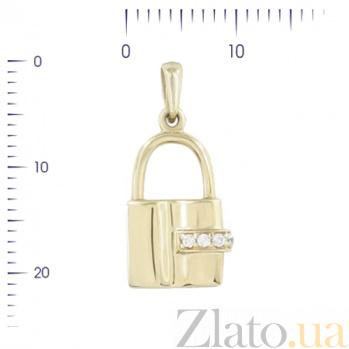 Золотой подвес с цирконием Замочек 2П304-0190