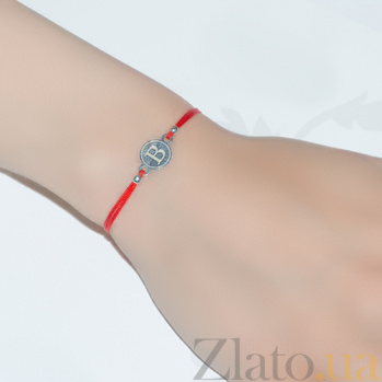 Шелковый браслет с серебряной вставкой Буква В Буква В