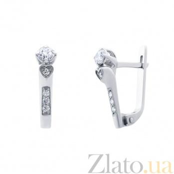 Серьги серебряные с цирконом Первая любовь AQA--72053б
