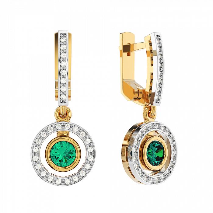 Золотые серьги-подвески Елизавета с изумрудами и бриллиантами VLA--23412