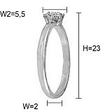 Кольцо из белого золота Жасмин с бриллиантом