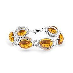 Серебряный браслет с золотыми накладками и янтарем 000119576