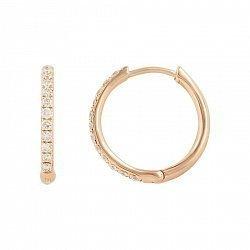 Серьги-колечки из красного золота Донна с бриллиантами