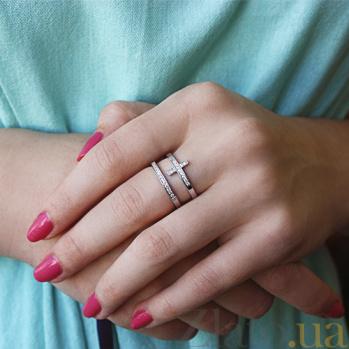 Серебряное кольцо Крестик с фианитами HUF--500013-Р