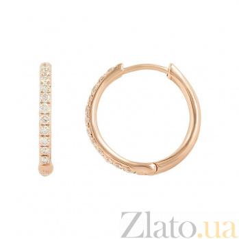 Серьги-колечки из красного золота Донна с бриллиантами 000081086