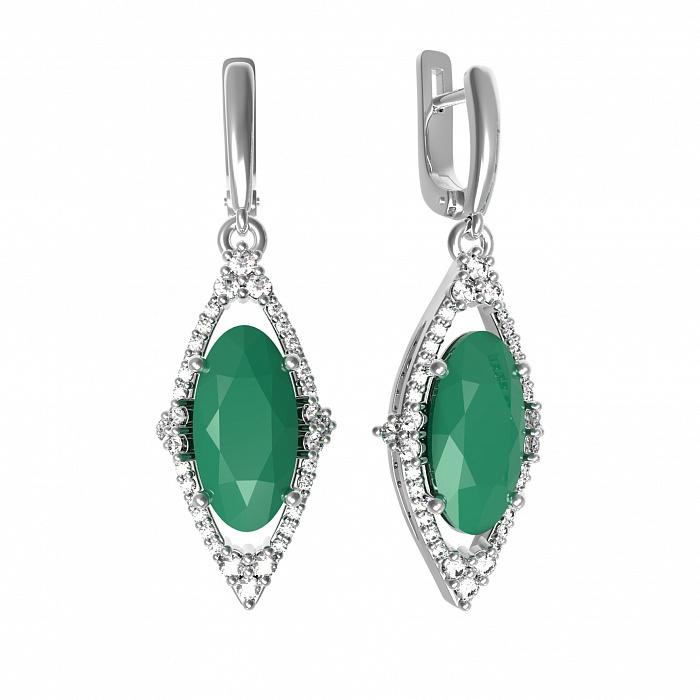 Серебряные серьги-подвески Селина с зеленым агатом и фианитами 000079742