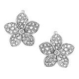 Серебряные серьги с бриллиантами Плюмерия
