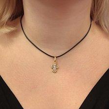 Детский серебряный крестик Материнская Защита с позолотой и чернением