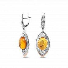 Серебряные серьги-подвески Корделия с золотыми накладками, янтарем и фианитами