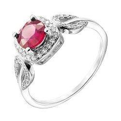 Серебряное кольцо с рубином и фианитами 000140357