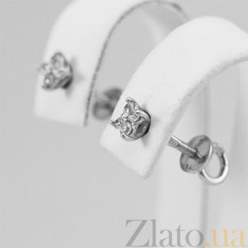 Золотые серьги с бриллиантами Яркий акцент 000029436