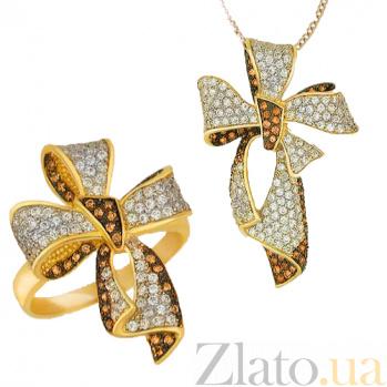 Золотаяподвеска Цветок с цирконием VLT--ТТ389-1