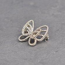 Серебряная брошка Бабочка с распахнутыми крыльями и белыми фианитами