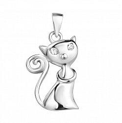 Серебряная родированная подвеска Кошечка с глазками-фианитами