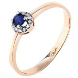 Золотое кольцо Небесный ореол с сапфиром и бриллиантами