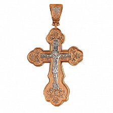 Золотой крест с белым родием Спасение Господне