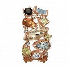 Кулон из красного золота Катарина с аметистом, гранатом, топазом, хризолитом и бриллиантами