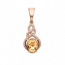 Кулон из красного золота с цитрином и фианитами 000131533