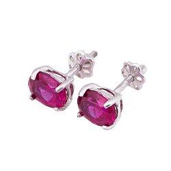 Серебряные серьги Джастина с синтезированным рубином