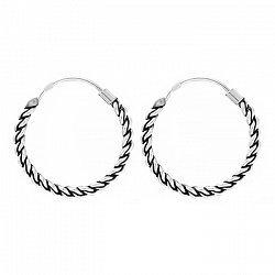 Серьги-кольца из серебра, d 18мм 000024702
