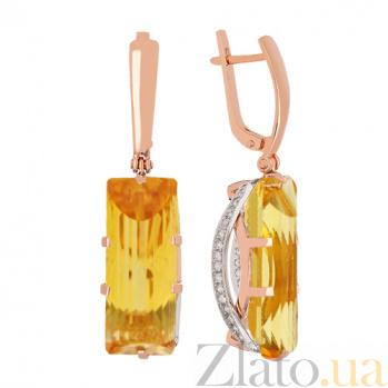 Золотые серьги с цитринами и фианитами Одетта VLN--113-1265-8