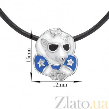 Детское колье Звездный мишка с эмалью и кристаллами Swarovski на кожаном шнурке 000080679