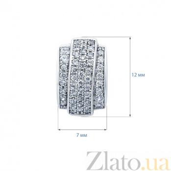 Серебряные серьги с усыпкой фианитов Биата AQA-E0297_akv