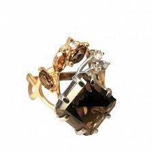 Золотое кольцо с кварцем и топазами Кристая