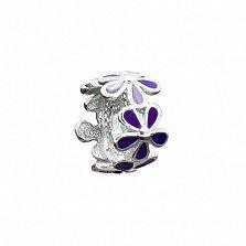 Серебряный шарм Цветник с фиолетовой эмалью