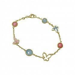 Браслет из желтого золота Милое лето с голубым халцедоном, розовым кварцем, розовой и голубой эмалью