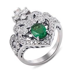 Кольцо-корона из белого золота с изумрудом и бриллиантами 000136765