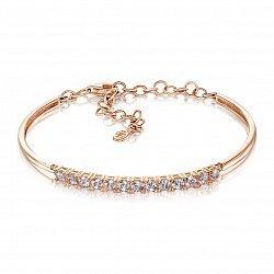 Золотой браслет в красном цвете с цирконием Swarovski 000101603