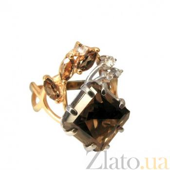 Золотое кольцо с кварцем и топазами Кристая PTL--1к584/28