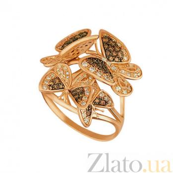Кольцо из красного золота Весенние бабочки с фианитами VLT--ТТ1128-2
