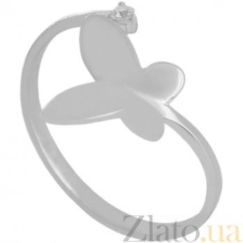 Золотое кольцо в белом цвете с цирконием Мотылек 000029235