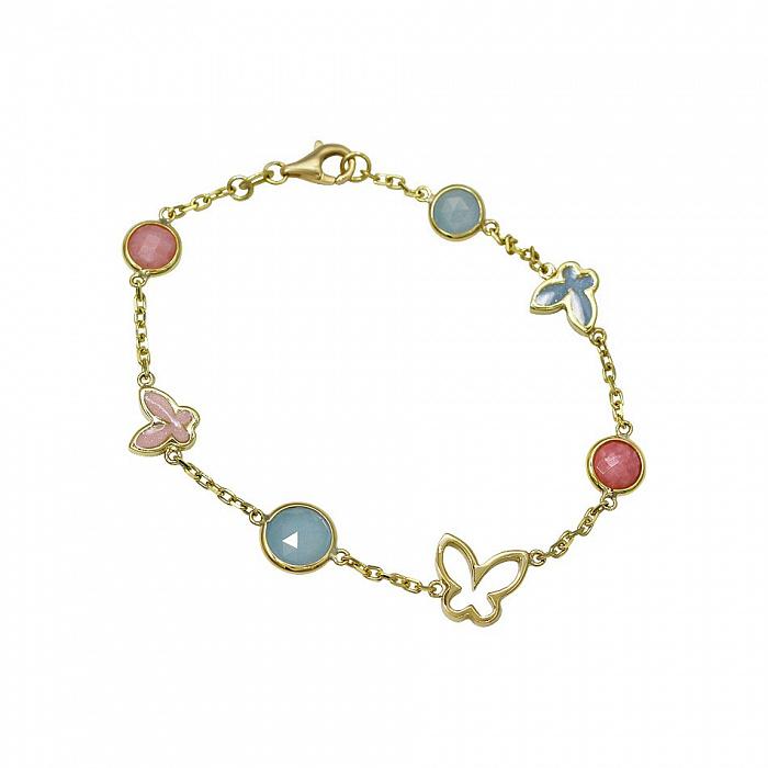 Браслет из желтого золота Милое лето с голубым халцедоном, розовым кварцем, розовой и голубой эмалью 000081303