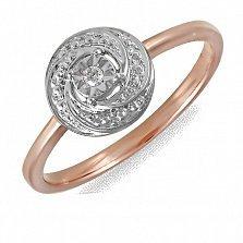 Кольцо Лилия из комбинированного золота с бриллиантом