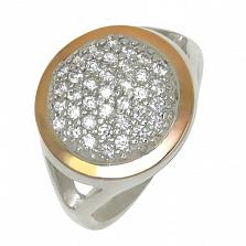 Кольцо из серебра Моника со вставками золота и фианитами