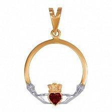 Золотой кладдахский кулон Царство любви с синтезированным рубином
