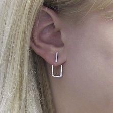 Серебряные серьги-джекеты Эдгар в минималистичном стиле