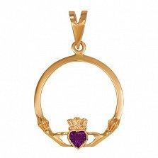 Кладдахский кулон из красного золота Царство любви с синтезированным аметистом