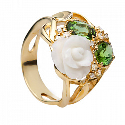 Золотое кольцо с кораллом и турмалином Розалинда